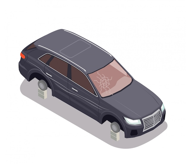 Przewieziony Skład Z Czarnym Samochodem Bez Opon I Z łamanym Wiatrowym Ekranem Na Białym Tle 3d Isometric Darmowych Wektorów