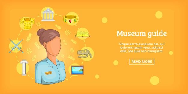 Przewodnik poziomy transparent muzeum, stylu cartoon Premium Wektorów