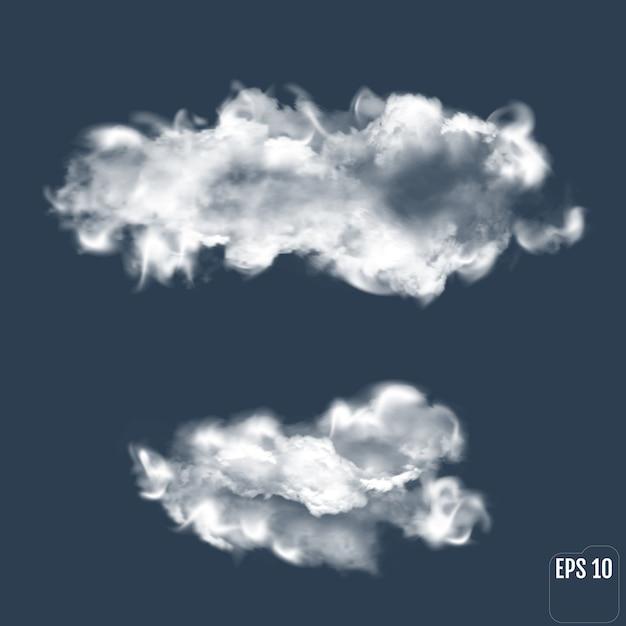 Przezroczysta Chmura. Realistyczna Chmura. Premium Wektorów