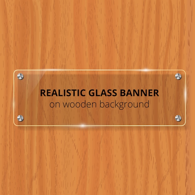 Przezroczysta Szklana Płytka. Brązowe Drewniane Tła. Element Dekoracyjny. Plastikowy Błyszczący Panel Z Refleksją, Cieniem. Premium Wektorów