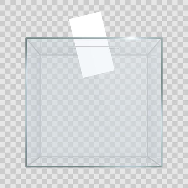 Przezroczysta urna z kartą do głosowania w otworze. Premium Wektorów