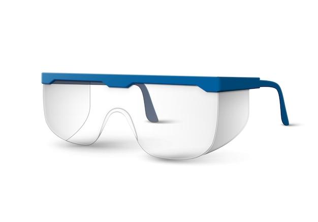 Przezroczyste Plastikowe Okulary Laboratoryjne Z Niebieskimi Słuchawkami Na Białym Tle Darmowych Wektorów