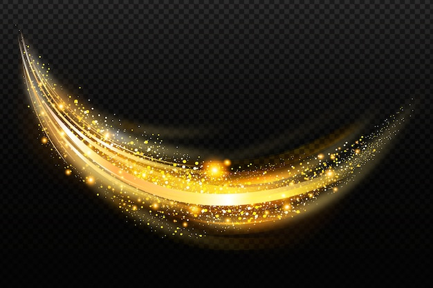 Przezroczyste Tło Z Błyszczącą Złotą Falą Darmowych Wektorów