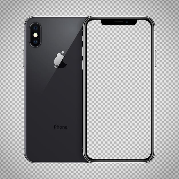 Przezroczysty Ekran Czarnego Smartfona Podobny Do Iphone'a X. Premium Wektorów