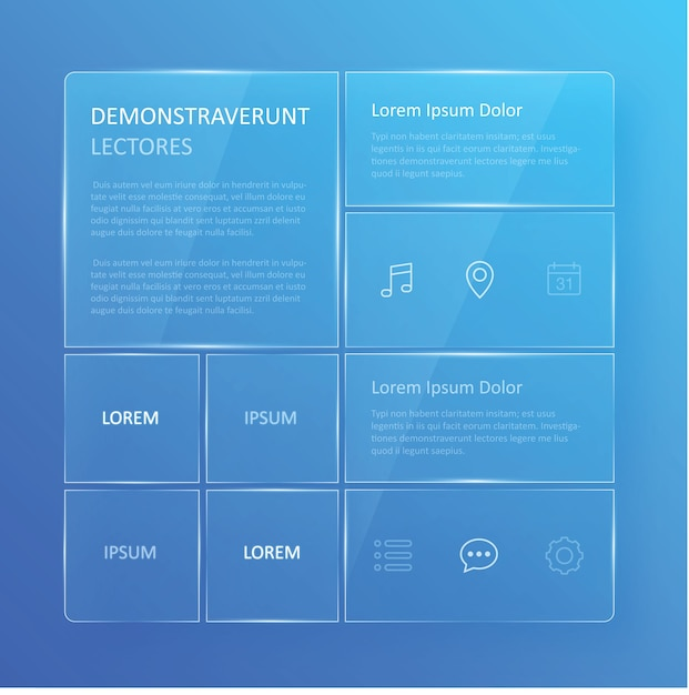 Przezroczysty, Niebieski Szklisty Interfejs Użytkownika Premium Wektorów