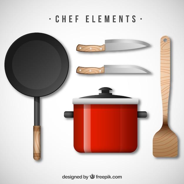Przybory kuchenne o realistycznym stylu Darmowych Wektorów
