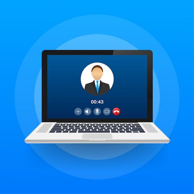 Przychodzące Połączenie Wideo Na Laptopie. Laptop Z Połączeniem Przychodzącym, Zdjęcie Profilowe Mężczyzny I Przyciski Odrzucania. Ilustracja. Premium Wektorów