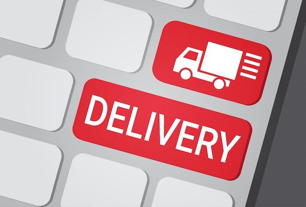 Przycisk Dostawy Na Klawiaturze Laptopa Fast Courier Service Express Truck Premium Wektorów