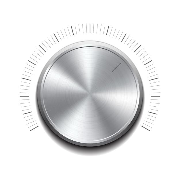 Przycisk Głośności - Pokrętło Muzyczne Z Metalową Fakturą. Ilustracja Premium Wektorów