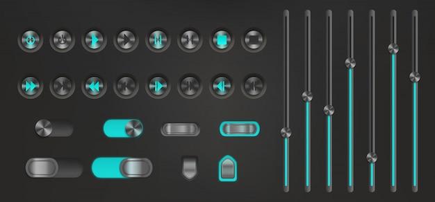 Przycisk Sterowania Z Podświetleniem Neonowym. Odtwarzacz Multimedialny Darmowych Wektorów