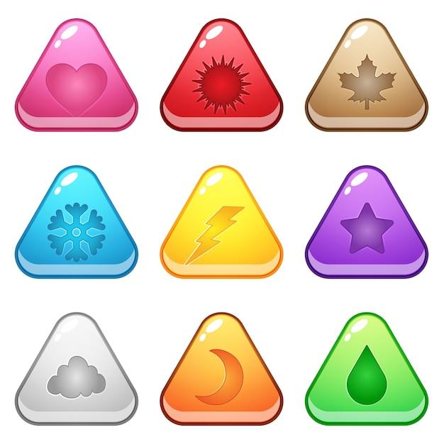 Przycisk w kształcie ślicznego trójkąta reprezentuje różne symbole sezonu. Premium Wektorów