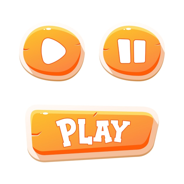 Przyciski Do Gier Mobilnych. Projektowanie Gry Interfejsu Użytkownika. Premium Wektorów