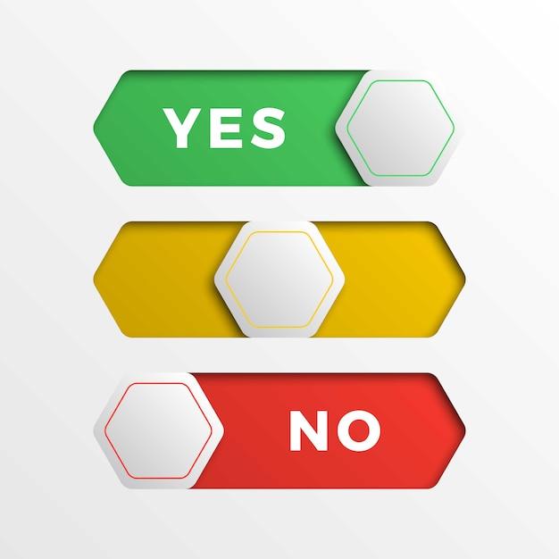 Przyciski interfejsu przełącznika sześciokątnego czerwony / żółty / zielony. 3d realistyczny suwak tak / nie Premium Wektorów
