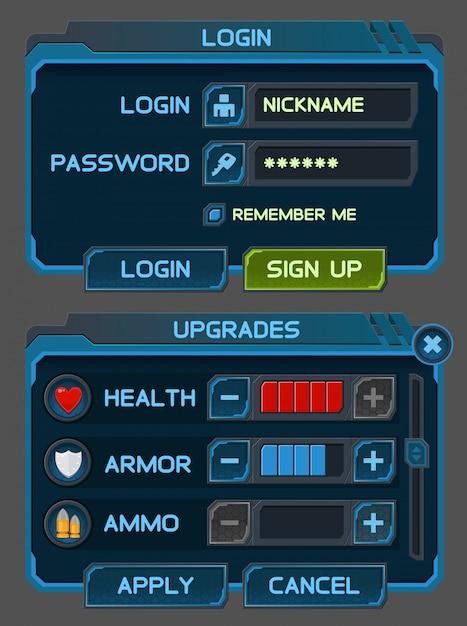 Przyciski Interfejsu Ustawione Dla Gier Lub Aplikacji Kosmicznych Premium Wektorów