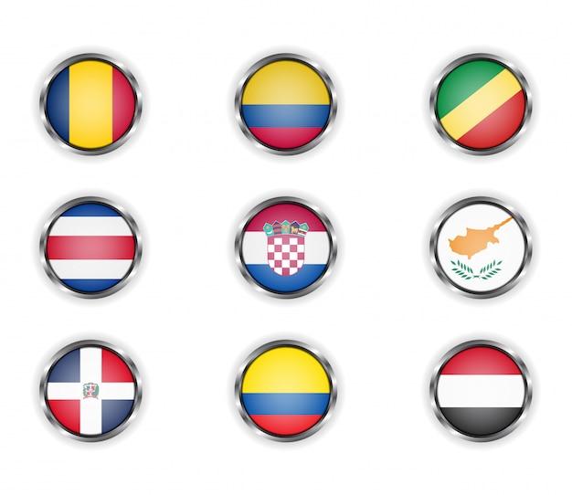 Przyciski Z Metalową Ramką Flag Kraju. Premium Wektorów