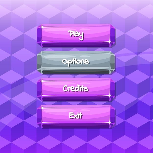 Przyciski z tekstem do gier Premium Wektorów