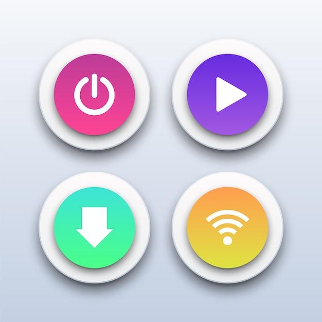 Przyciski zasilania 3d, odtwarzania, pobierania i wi-fi. Premium Wektorów