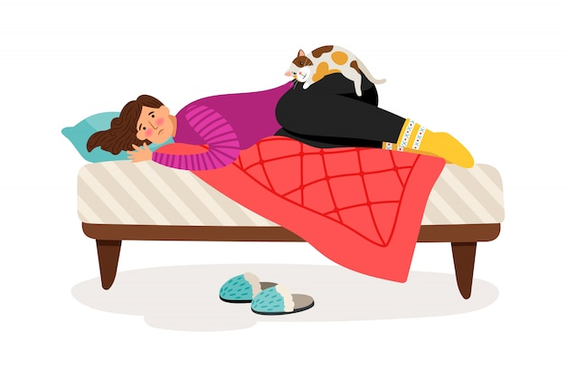 Przygnębiona kobieta i kot Premium Wektorów