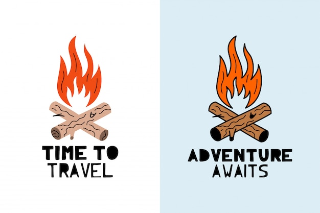 Przygoda czeka na logo ogniska Premium Wektorów