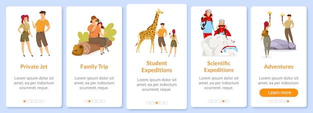 Przygoda Na Ekranie Szablonu Aplikacji Mobilnej. Wyprawa I Eksploracja. Podróż, Podróż. Przewodnik Po Witrynie Z Postaciami. Koncepcja Interfejsu Kreskówki Smartfona Ux, Ui, Gui Premium Wektorów