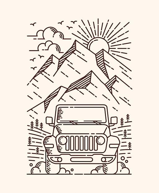 Przygoda Samochodową Ilustracją Linii Premium Wektorów