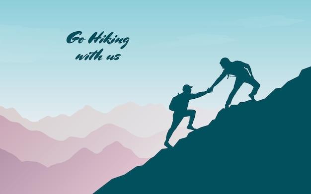 Przygoda W Górach. Pomóż Przyjacielowi Podczas Wspinaczki Na Szczyt. Ręka Wsparcia. Premium Wektorów