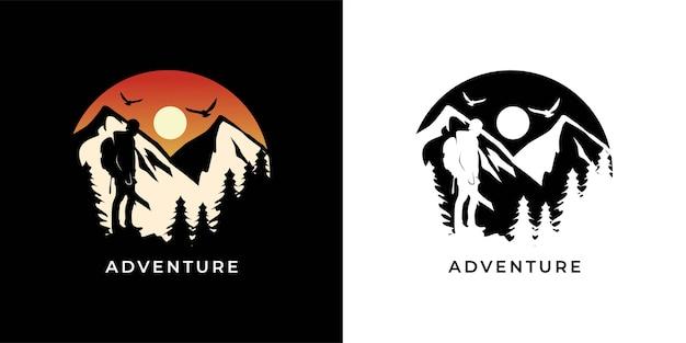 Przygoda Z Ilustracją Logo Wędrówki Premium Wektorów