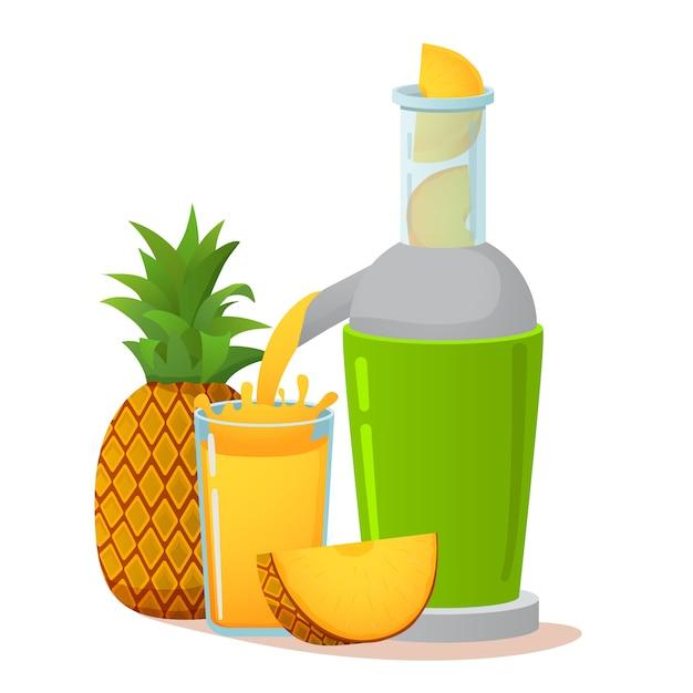 Przygotowanie Soku Ananasowego Premium Wektorów