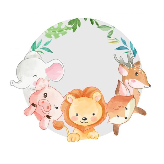 Przyjaciel Cute Zwierząt W Cirlcle Kształtu Ilustracji Premium Wektorów