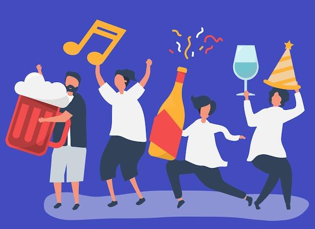 Przyjaciele imprezują i piją różne napoje Darmowych Wektorów