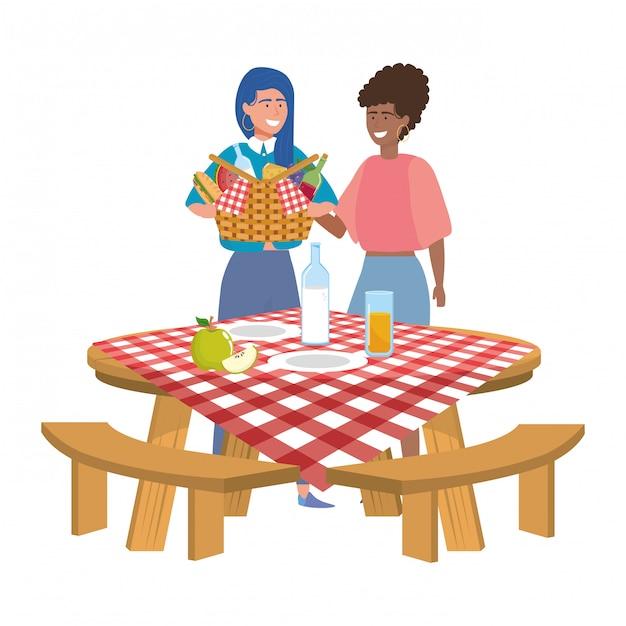 Przyjaciele Kobiet Pikniku Premium Wektorów