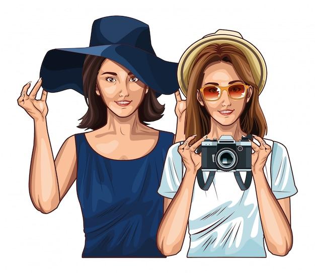 Przyjaciele kobiet pop-artu uśmiechający się kreskówka Premium Wektorów
