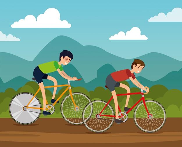 Przyjaciele mężczyzn na rowerze do ćwiczeń Darmowych Wektorów