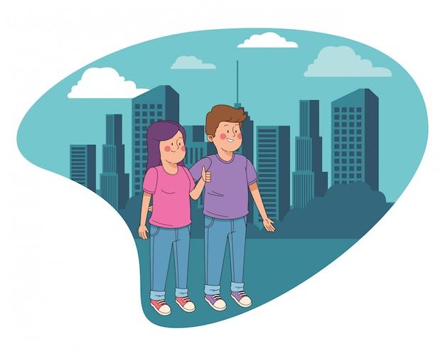 Przyjaciele Nastolatków, Uśmiechając Się I Zabawy Kreskówki Premium Wektorów