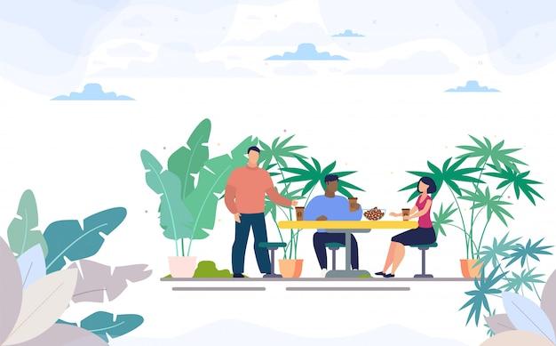 Przyjaciele Picia Kawy W Street Cafe Flat Premium Wektorów