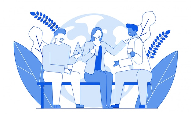 Przyjaciele Rozmawiają Nowoczesne Postacie Z Kreskówek Premium Wektorów