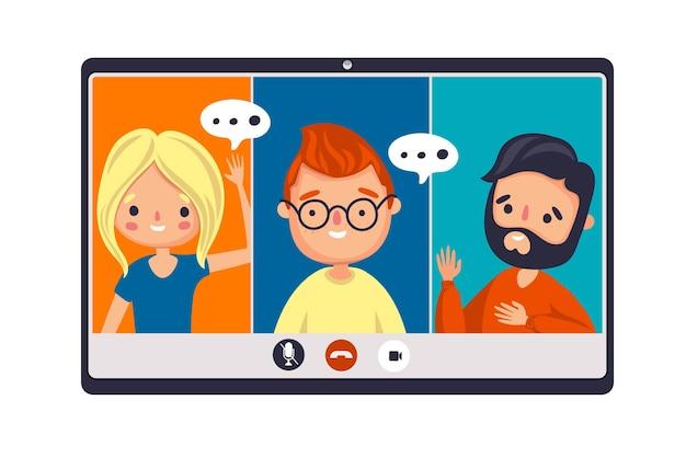 Przyjaciele Są Na Tym Samym Spotkaniu Online Darmowych Wektorów