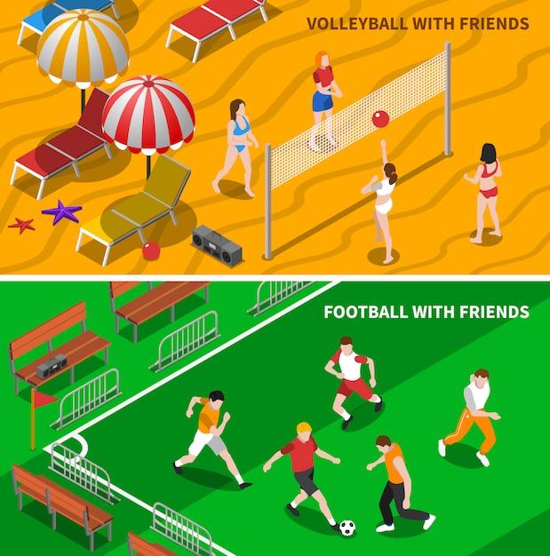 Przyjaciele sportowe izometryczne banery Darmowych Wektorów