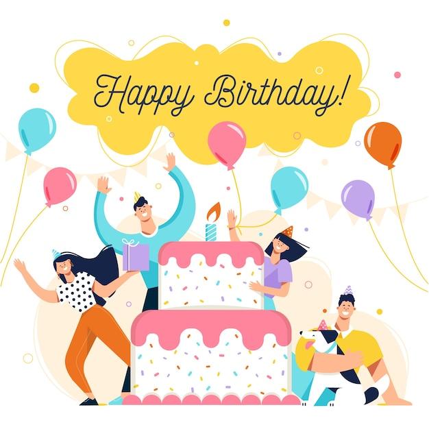 Przyjaciele Wspólnie Organizują Najlepsze Przyjęcie Urodzinowe Darmowych Wektorów
