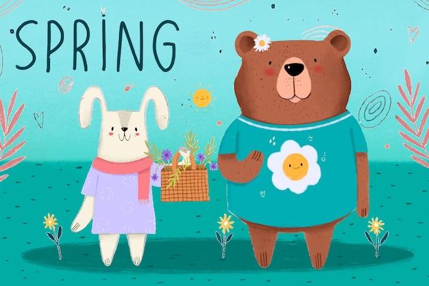 Przyjazna Wiosna Niedźwiedzia I Króliczka Nadchodzi Sezon Darmowych Wektorów