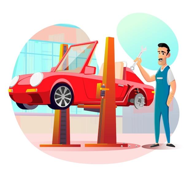 Przyjazny Uśmiechnięty Mechanik I Samochód Wisi Na Wyciągu Premium Wektorów