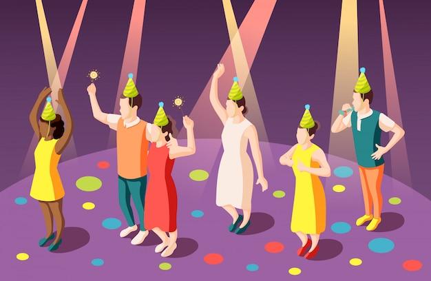 Przyjęcia Urodzinowego Isometric Skład Z śmiesznymi Ludźmi W Błazenów Kapeluszach W światłach Reflektorów Ilustracyjnych Darmowych Wektorów