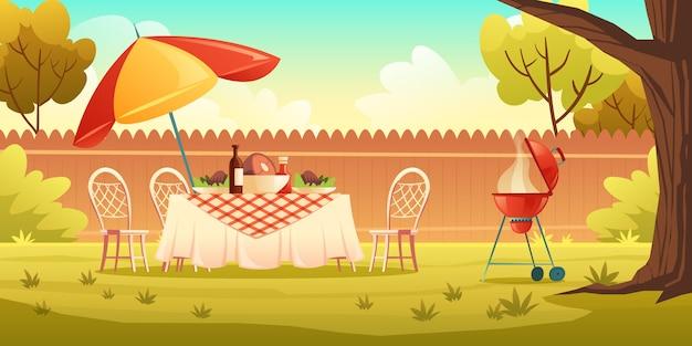 Przyjęcie Z Grilla Na Podwórku Z Grillem Do Gotowania Darmowych Wektorów