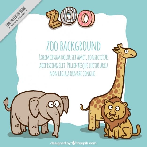 Przyjemne Zwierzęta Zoo Tle Premium Wektorów
