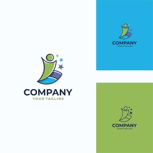 Przyjemny ludzki wektor logo szablon Premium Wektorów