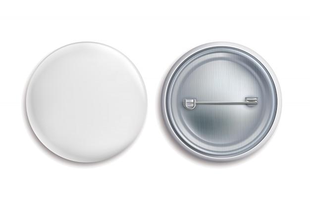 Przypinki. Biały Okrągły Pusty Przycisk, Reklamuj Metalowy 3d Znak Koła. Makieta Odznaki Z Pamiątkami Premium Wektorów