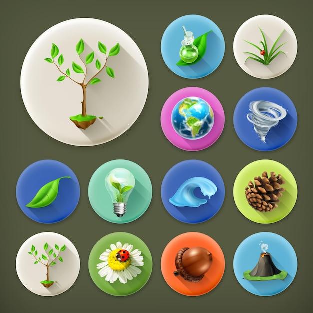 Przyroda I Ekologia, Zestaw Ikon Długi Cień Premium Wektorów