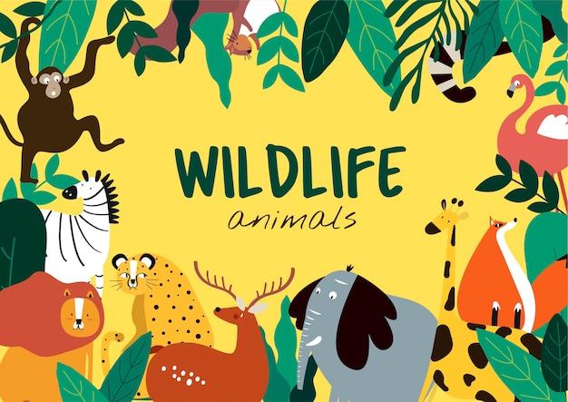 Przyrody zwierząt kreskówki stylu zwierząt szablon wektor Darmowych Wektorów