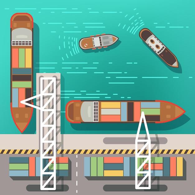 Przystań Morska Lub Port Morski Z Pływającymi Statkami I łodziami. Premium Wektorów