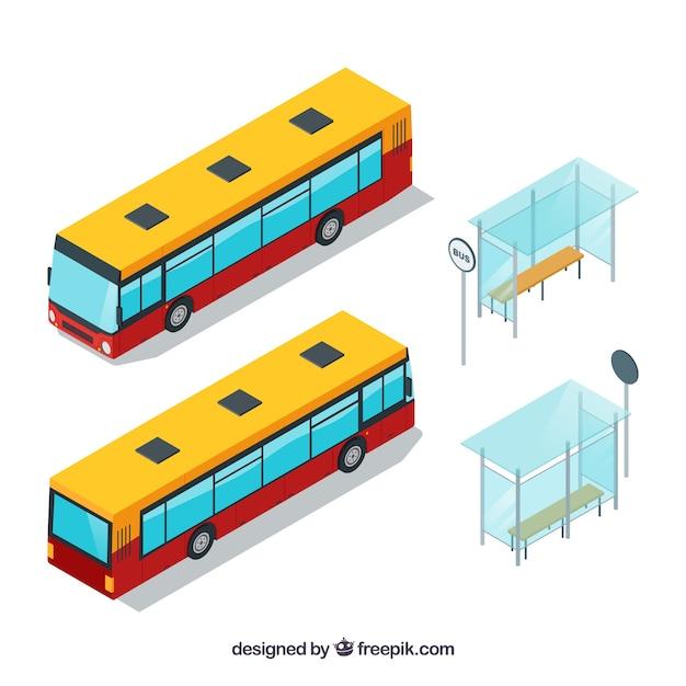 Przystanki Autobusowe Z Izometrycznymi Autobusami Darmowych Wektorów